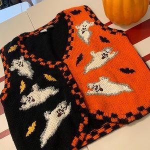 Vintage Knit Halloween Ghost Ugly Sweater Vest